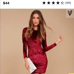 Lulus Long Sleeved Velvet Dress